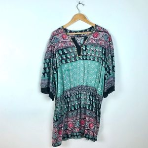 Angie Boho Short Sleeve Pattern Gold Tunic XXL